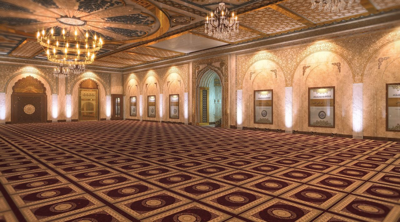 Beautiful mosque with apartments project capital icon