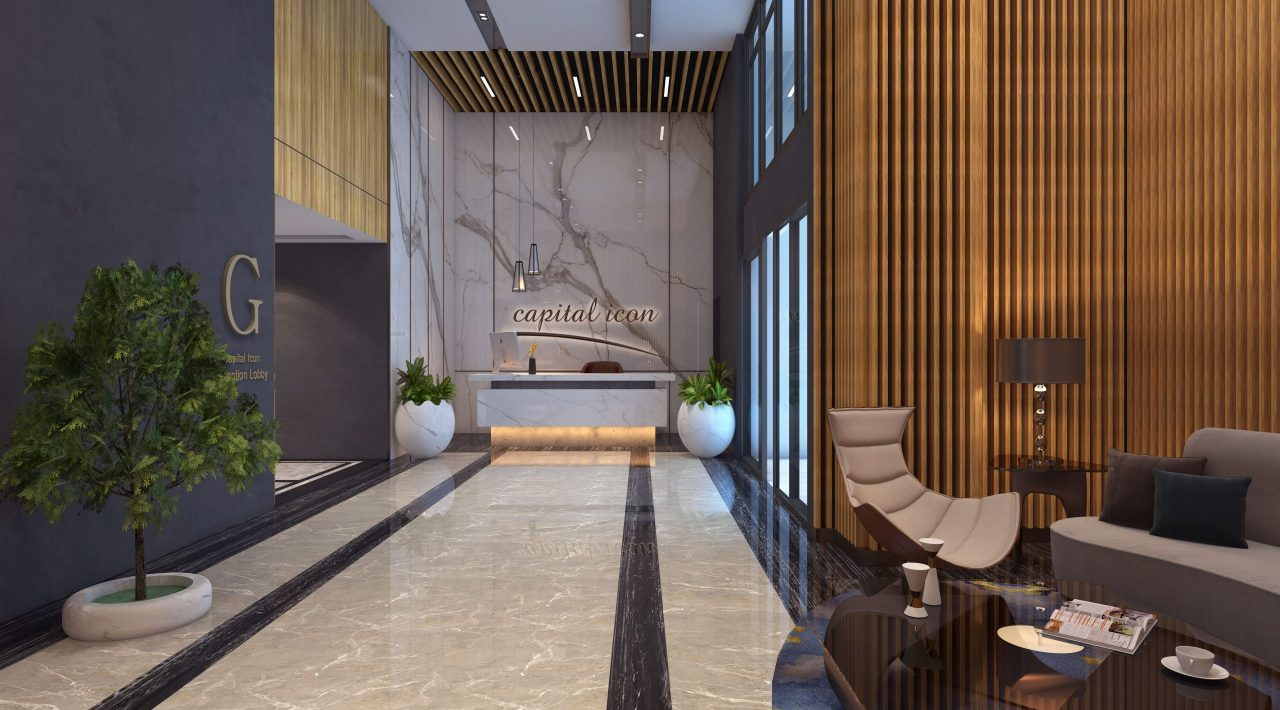 double heighted reception - luxury apartment project in Islamabad